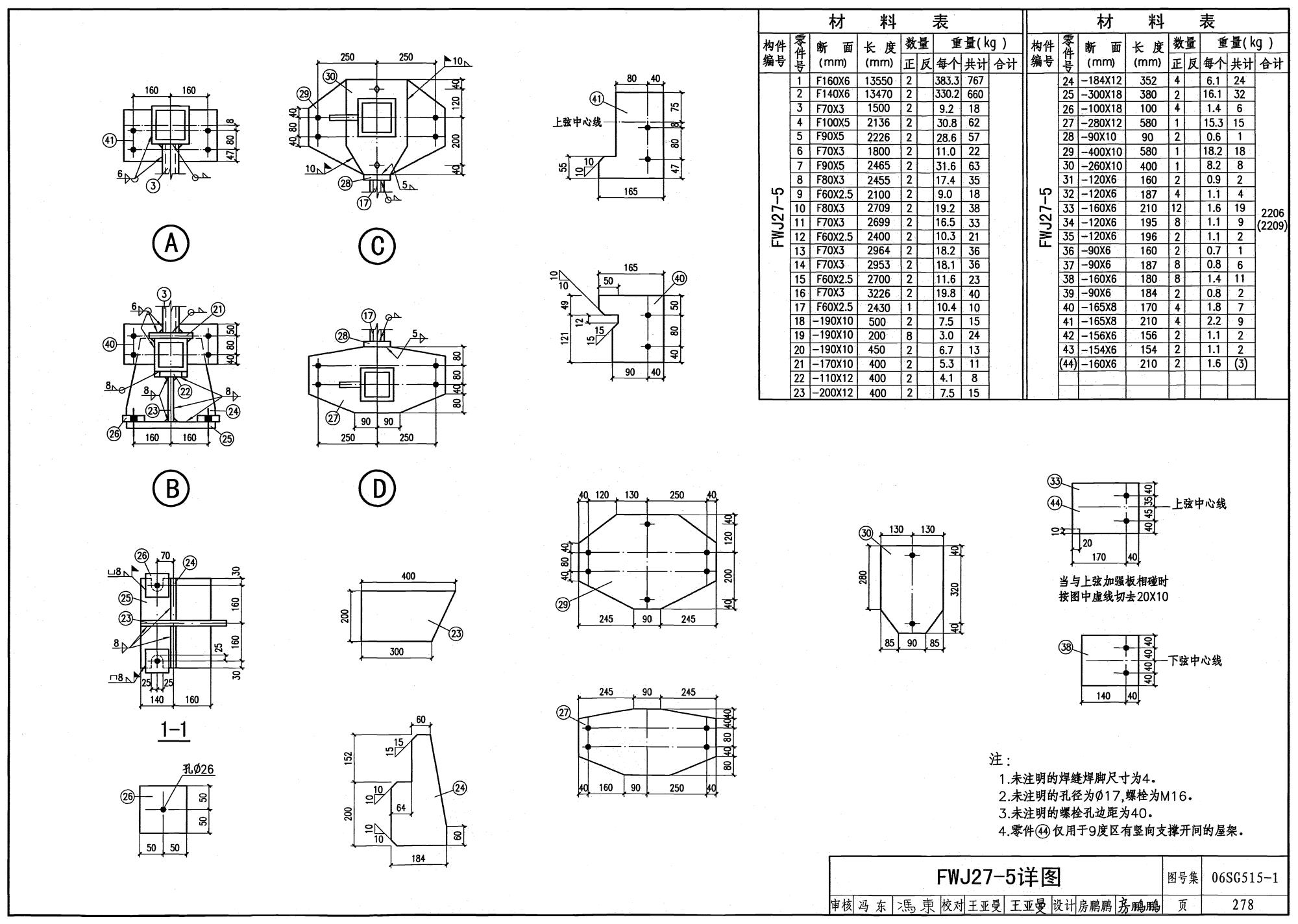06sg515-1:轻型屋面梯形钢屋架(圆钢管,方钢管)